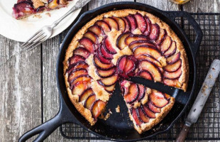 Plum Walnut Skillet Cake Recipe